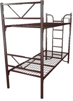 Кровать металлическая двухъярусная для хостелов 90x190 артикул G2-90 - фото 4983