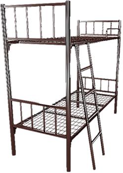 Кровать металлическая двухъярусная для хостелов 80x190 артикул H2-80 - фото 4985