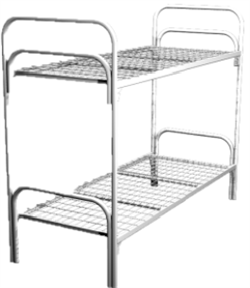 Кровать металлическая двухъярусная для общежитий 90x190 артикул C2-90 - фото 5006