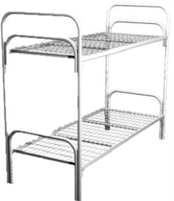 Кровать металлическая двухъярусная для общежитий 80x190 артикул C2-80 - фото 5007