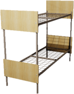 Кровать металлическая двухъярусная для общежитий ДСП 70x190 артикул Е2-70 - фото 5013