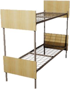 Кровать металлическая двухъярусная для общежитий ДСП 90x190 артикул E2-90 - фото 5017