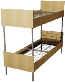 Кровать металлическая двухъярусная для общежитий ЛДСП 90x190 артикул F2-90 - фото 5018