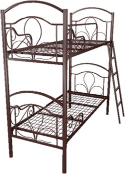 Кровать металлическая двухъярусная для хостелов 80x190 артикул J2-80 - фото 5028