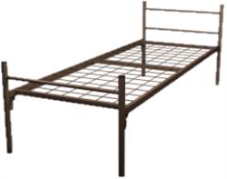 Кровать металлическая одноярусная для рабочих 80x190 артикул A1-80 - фото 5031