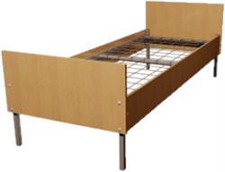 Кровать металлическая одноярусная для общежитий ЛДСП 70x190 артикул F1-70 - фото 5046