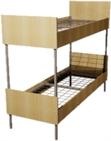 Кровать металлическая двухъярусная для общежитий ЛДСП 80x190 артикул F2-80